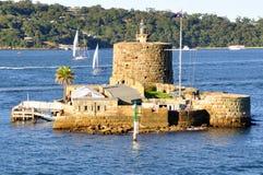 堡垒丹尼斯大学,悉尼港口,澳大利亚 免版税库存图片
