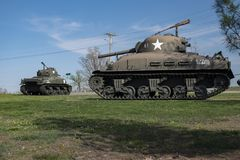 堡垒伦纳德木头, MO-APRIL 29日2018年:军车谢尔曼火焰坦克 库存图片