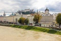 堡垒和中世纪大厦 萨尔茨堡 奥地利 免版税图库摄影