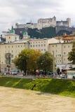堡垒和中世纪大厦 萨尔茨堡 奥地利 免版税库存图片