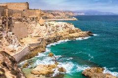 堡垒和城市墙壁在梅利利亚 免版税库存照片