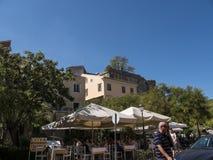 堡垒和小游艇船坞在科孚岛希腊海岛上  免版税图库摄影