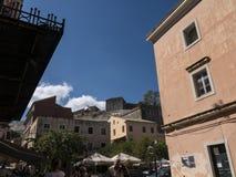 堡垒和小游艇船坞在科孚岛希腊海岛上  库存图片