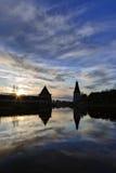 堡垒和日落剪影 免版税库存照片