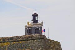 堡垒圣克里斯托瓦尔墙壁在圣胡安,波多黎各 图库摄影