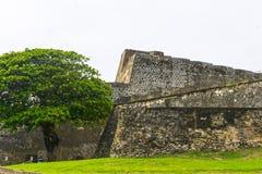 堡垒圣克里斯托瓦尔墙壁在圣胡安,波多黎各 库存照片