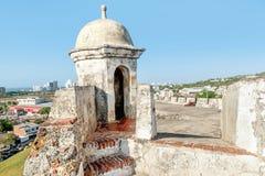 堡垒圣费利佩在老镇卡塔赫钠,哥伦比亚 免版税库存照片