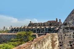 堡垒圣费利佩在老镇卡塔赫钠,哥伦比亚 免版税图库摄影