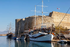 堡垒在凯里尼亚(Girne),北部塞浦路斯 库存照片