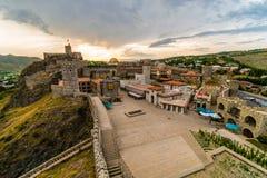 堡垒在日落阳光,阿哈尔齐赫,乔治亚的Rabati城堡 库存照片