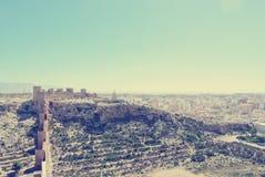 堡垒在阿尔梅里雅,西班牙在一个晴天;减速火箭的样式 免版税库存图片