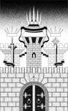 堡垒墙壁三个塔  库存图片