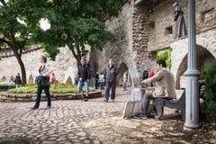 堡垒墙壁在老塔林,爱沙尼亚 库存图片