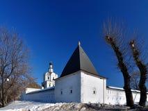 堡垒墙壁的壁角塔,俄罗斯 库存照片