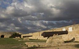 堡垒墙壁的枪 免版税库存照片