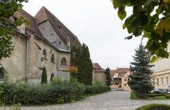 堡垒正方形的片段在老城市城堡的  Sighisoara市在罗马尼亚 免版税库存图片