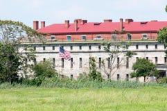 堡垒特拉华,特拉华市,非8月1日:堡垒特拉华国家公园,安置的历史的联合南北战争堡垒 免版税库存图片