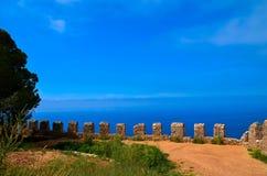 从堡垒的美好的海视图小山的o 免版税图库摄影