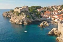 堡垒的Lovrijenac最佳的斑点在Adreatic海 免版税库存照片