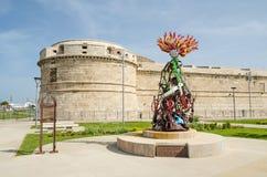 堡垒米开朗基罗和La Flama在奇维塔韦基亚 库存照片