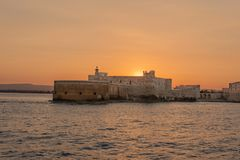 堡垒马尼亚切在西勒鸠斯西西里岛 库存照片