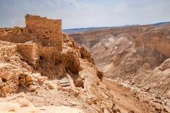 堡垒马萨达,以色列废墟  晴朗的日 免版税库存图片