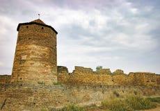 堡垒Akkerman墙壁和窗口在乌克兰 免版税库存图片