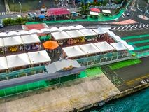 堡垒de法国,马提尼克岛- 2013年2月08日:屋顶在港口,加勒比 免版税库存照片