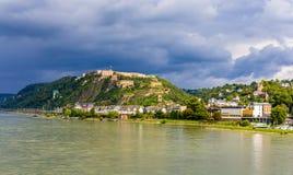 堡垒Ehrenbreitstein看法在科布伦茨 免版税库存图片