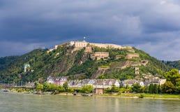 堡垒Ehrenbreitstein看法在科布伦茨 免版税库存照片