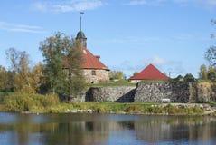 堡垒Korela 10月下午的看法 Priozersk,列宁格勒地区 图库摄影