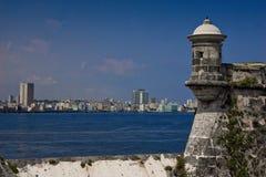 从堡垒Morro的哈瓦那地平线 免版税库存图片