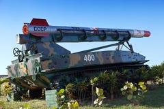 堡垒Morro-小屋。苏联武器的陈列致力了于加勒比Crisis.Cuba的记忆。 图库摄影