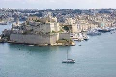 堡垒St安吉洛,在盛大港口的Vittoriosa,马耳他 库存照片