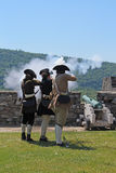 堡垒Ticonderoga Reenactors 免版税库存图片
