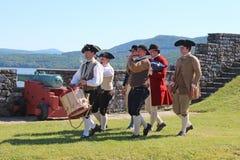 堡垒Ticonderoga Reenactors 库存照片