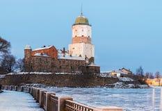 维堡城堡在一个冬天早晨 库存照片