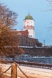 维堡城堡在一个冬天早晨 免版税图库摄影