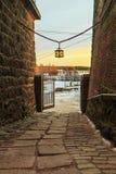 维堡城堡法院在一个冬天早晨 免版税库存照片