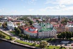 维堡老镇在俄罗斯 在视图之上 免版税库存照片