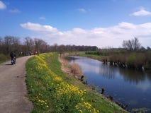堤堰在春天 库存图片