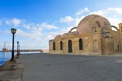 堤防和土耳其清真寺Yiali Tzami  库存照片