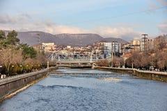 堤防和桥梁在索契 免版税库存图片