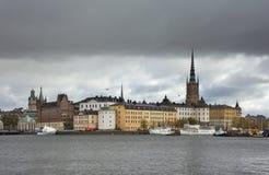 堤防在斯德哥尔摩镇 瑞典 免版税库存图片