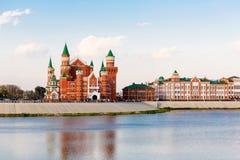 堤防在约什卡尔奥拉 俄国 库存照片