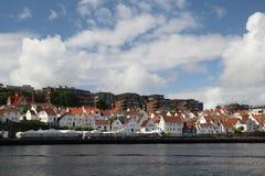 堤防在老镇在斯塔万格,挪威 库存照片