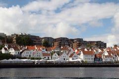 堤防在老镇在斯塔万格,挪威 库存图片