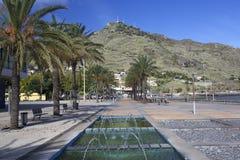 堤防在Machico,马德拉岛 库存照片