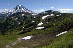 堪察加山火山 免版税库存图片