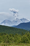 堪察加的本质:爆发活跃茹帕诺夫斯基火山火山 免版税图库摄影